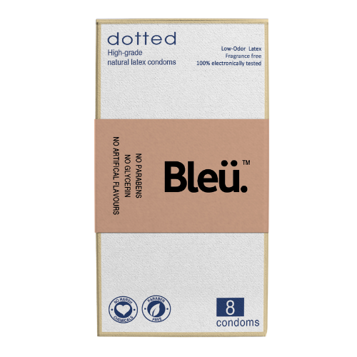 Bleu Organic Dotted Condoms - Natural Latex, Paraben-Free and Non-Toxic Codoms Pack of 8 Pcs