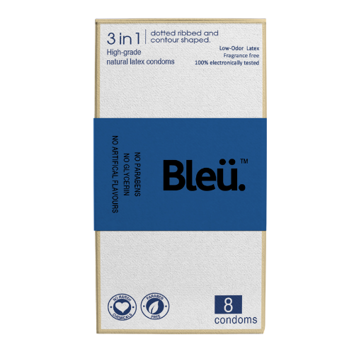 Bleu Organic 3 in 1 Condoms - Natural Latex, Paraben-Free and Non-Toxic Codoms Pack of 8 Pcs