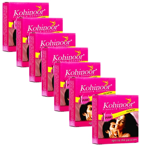 Kohinoor pink condom 3s x 7 - 21 Condoms - Snug Fit