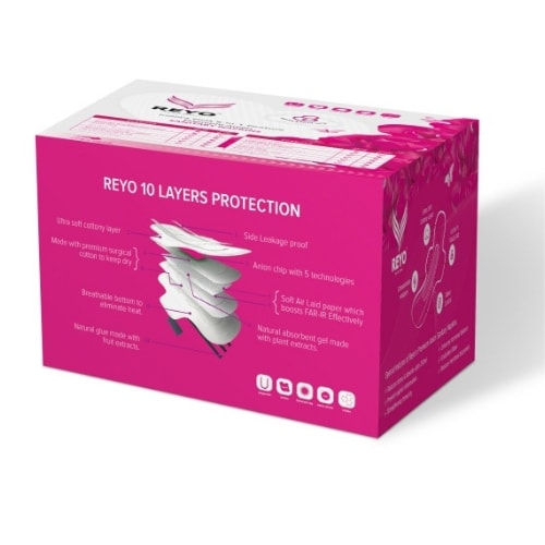 REYO Maxi Pack - Extra Large Plus XXL- 8 Anion Pads - 330mm for Heavy Flow
