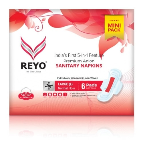 REYO Mini Pack - Large - 6 Anion Pads - 240mm for Normal Flow