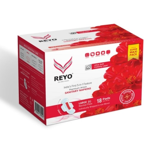 REYO Super Maxi Pack - Large - 18 Anion Pads - 240mm for Normal Flow