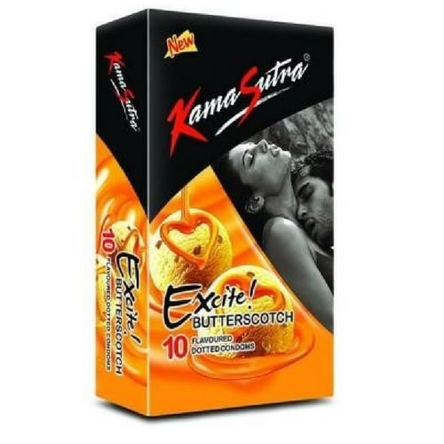 Kamasutra excite butterscotch flavoured 10s condoms