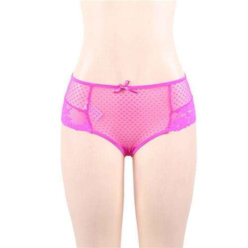 Sexy Pink High Waist Lace Strappy Panty