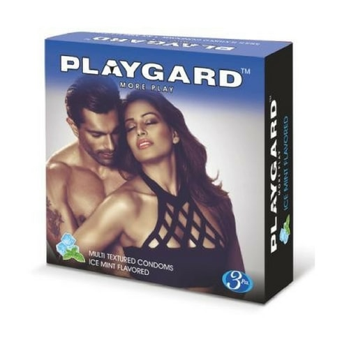 Playgard Multi Textured - Ice Mint Flavoured Condoms - 3