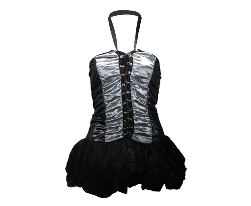 Silver with black corset with panty