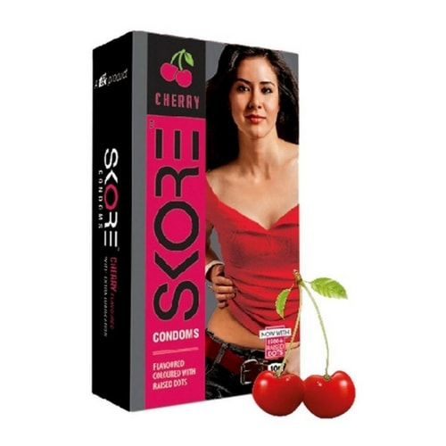 Skore Cherry Flavoured Condoms - Coloured and 1500 Raised Dots 10s Pack