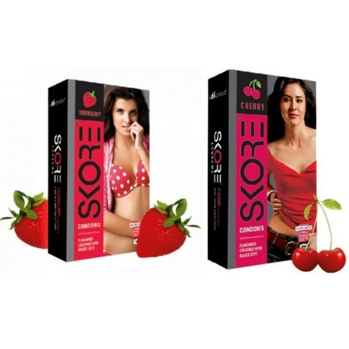 Skore strawberry and cherry flavoured condoms