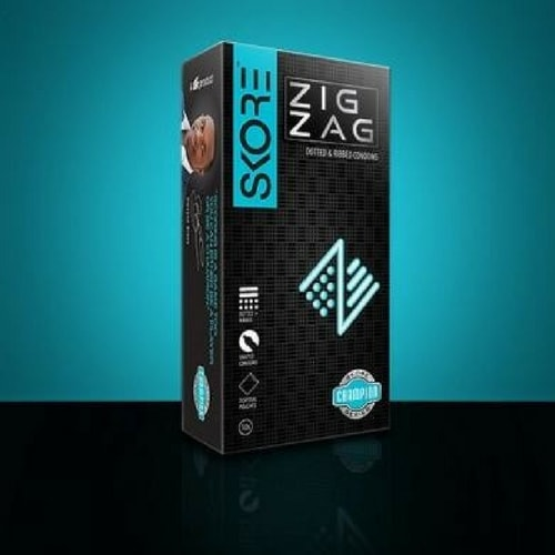 Skore Zig Zag Textured Condoms - Dotted and Ribbed Condoms 10s Pack