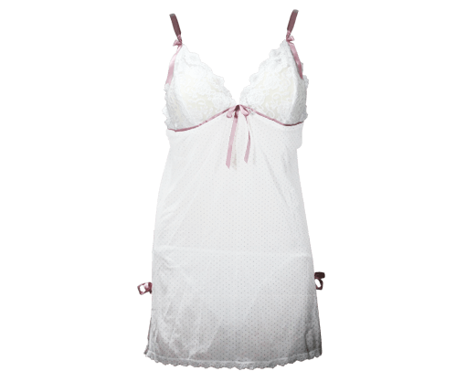 White lingerie with light pink dotted design