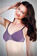 Enamor moulded nonwired striped bra